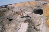 Mining Photo Stock Library - aerial photo of dragline in open cut coal mine with light vehicle adjacent for scale.  Excavator moving coal and truck rotation. ( Weight: 1  New Image: NO)