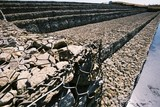 Mining Photo Stock Library - Close up photo of rock cage retaining wall at dam site ( Weight: 1  New Image: NO)