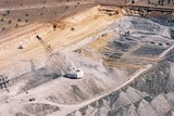Mining Photo Stock Library - great aerial shot showing all forms of overburden removal in an open cut coal mine.  dragline, excavator and truck rotation, dozer push ( Weight: 1  New Image: NO)