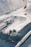 Mining Photo Stock Library - wide aerial vertical photo of excavator loading coal into haul trucks in open cut coal mine. ( Weight: 1  New Image: NO)