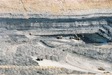 Mining Photo Stock Library - wide aerial photo of excavator loading coal into haul trucks in open cut mine. ( Weight: 1  New Image: NO)