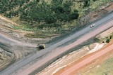 Mining Photo Stock Library - loaded haul truck on haul access road in open cut coal mine.  aerial photo. ( Weight: 1  New Image: NO)