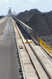 Mining Photo Stock Library - coal spreader and reclaimer at terminal.  shot looking along tracks with coal stockpiles adjacent. ( Weight: 1  New Image: NO)
