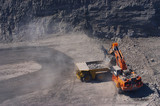 Mining Photo Stock Library - aerial photo of an excavator working on a bench loading overburden in open cut coal mine ( Weight: 1  New Image: NO)
