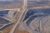 Mining Photo Stock Library - high aerial image of open cut coal mine.  high walls and mine operations clearly seen. ( Weight: 1  New Image: NO)