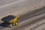 Mining Photo Stock Library - loaded haul truck moving coal in open cut coal mine.  aerial shot. ( Weight: 1  New Image: NO)