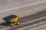 Mining Photo Stock Library - haul truck loaded with coal in open cut coal mine.  aerial photo. ( Weight: 1  New Image: NO)