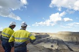 Mining Photo Stock Library - mine managers in full PPE observing from mine lookout haul trucks operating in the pit of an open cut coal mine. ( Weight: 1  New Image: NO)