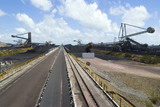 Mining Photo Stock Library - photo of a conveyor at coal terminal.  reclaimers, coal stockpiles and the port in background, ( Weight: 1  New Image: NO)