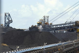 Mining Photo Stock Library - coal reclaimers working stockpiles in coal terminal. ( Weight: 1  New Image: NO)