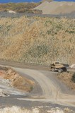 Mining Photo Stock Library - haul truck on access road passing by rehab and revegation planting work. ( Weight: 1  New Image: NO)