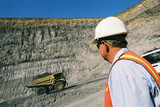 Mining Photo Stock Library - mine site supervisor observing loaded haul truck with coal driving along ramp an access road in open cut coal mine. ( Weight: 1  New Image: NO)