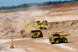 Mining Photo Stock Library - 400 tonne excavator loading haul trucks in open cut coal mine ( Weight: 1  New Image: NO)
