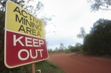 Mining Photo Stock Library - mine site signage, active mining area, Keep Out. ( Weight: 1  New Image: NO)