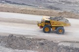 Mining Photo Stock Library - aerial photo of haul truck moving with overburden on haul access road in open cut mine. ( Weight: 1  New Image: NO)
