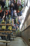 Mining Photo Stock Library - underground mine worker's change room.  photo shows clean change gear hanging in baskets from the roof. ( Weight: 1  New Image: NO)