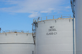 Mining Photo Stock Library - petrol storage towers with blue sky behind. ( Weight: 1  New Image: NO)